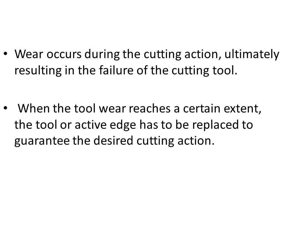 Wear occurs during the cutting action, ultimately resulting in the failure of the cutting tool. When the tool wear reaches a certain extent, the tool