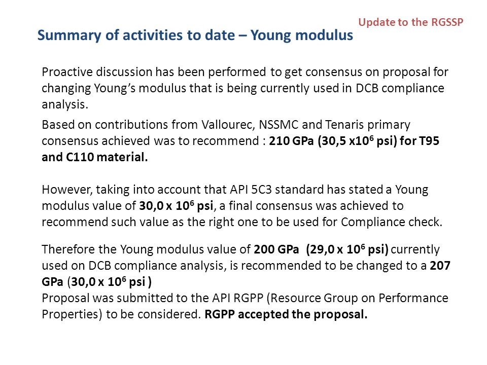 Proactive discussion has been performed to get consensus on proposal for changing Young's modulus that is being currently used in DCB compliance analysis.
