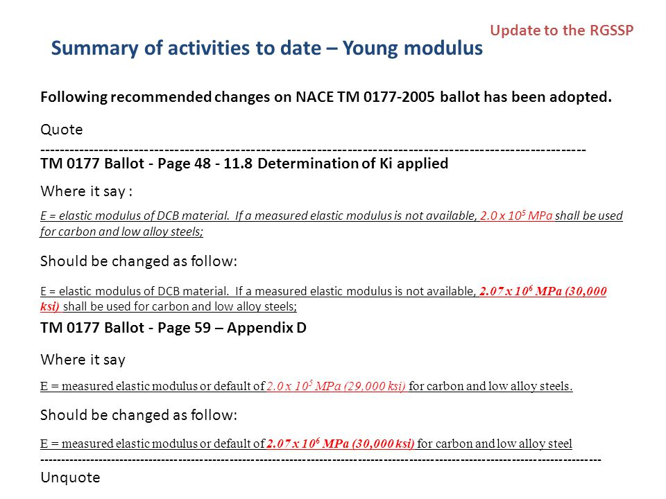 Following recommended changes on NACE TM 0177-2005 ballot has been adopted.