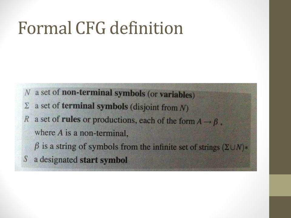 Formal CFG definition