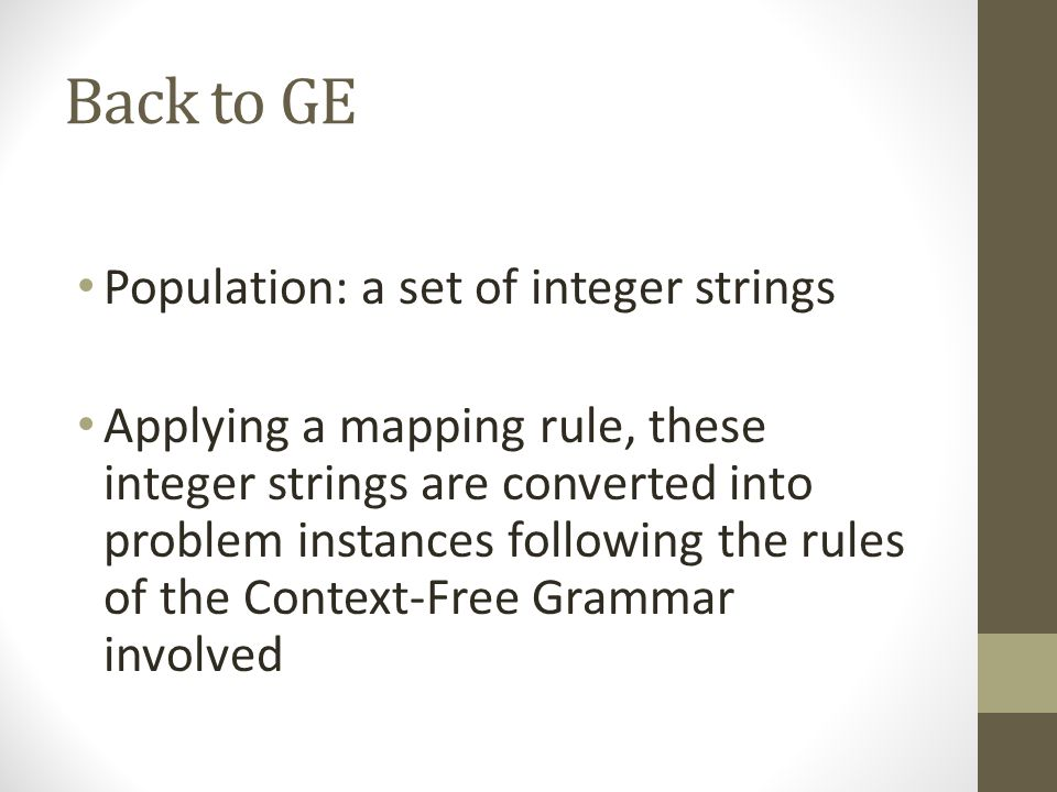 Back to GE Population: a set of integer strings Applying a mapping rule, these integer strings are converted into problem instances following the rule