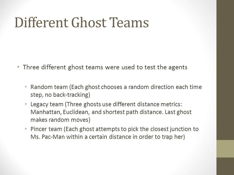 Different Ghost Teams Three different ghost teams were used to test the agents Random team (Each ghost chooses a random direction each time step, no b