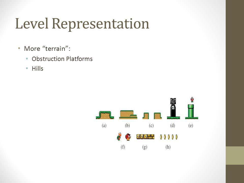 "Level Representation More ""terrain"": Obstruction Platforms Hills"