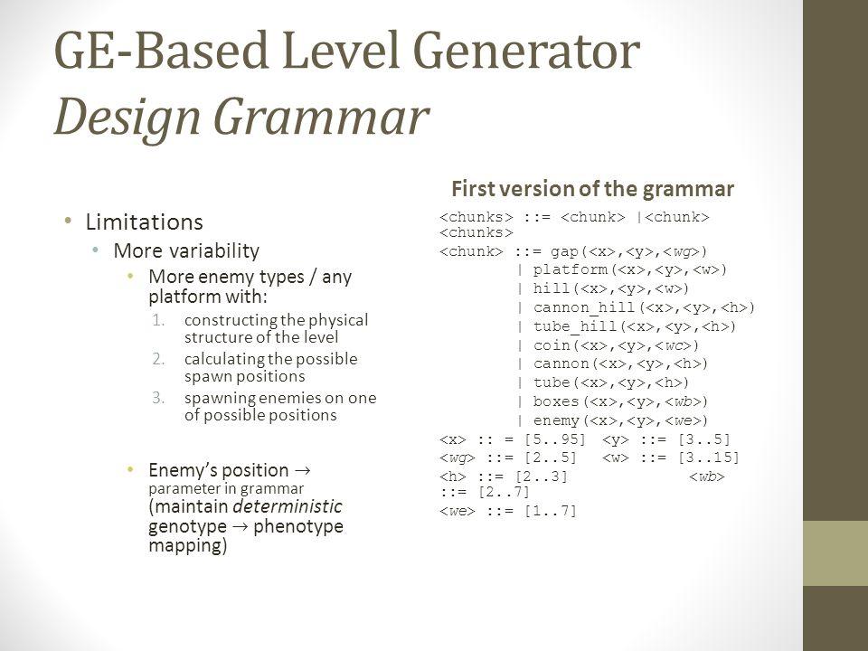 GE-Based Level Generator Design Grammar First version of the grammar ::= | ::= gap(,, ) | platform(,, ) | hill(,, ) | cannon_hill(,, ) | tube_hill(,,