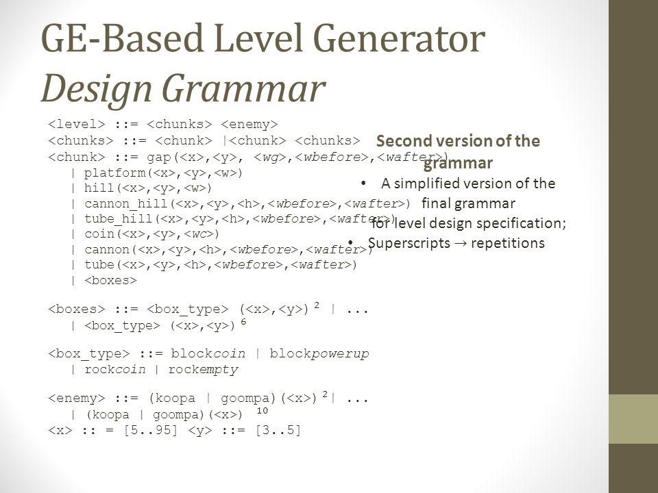 GE-Based Level Generator Design Grammar