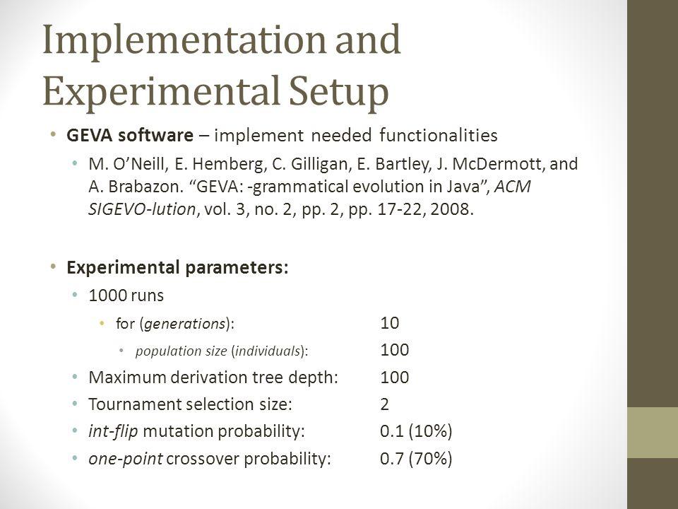 Implementation and Experimental Setup GEVA software – implement needed functionalities M. O'Neill, E. Hemberg, C. Gilligan, E. Bartley, J. McDermott,