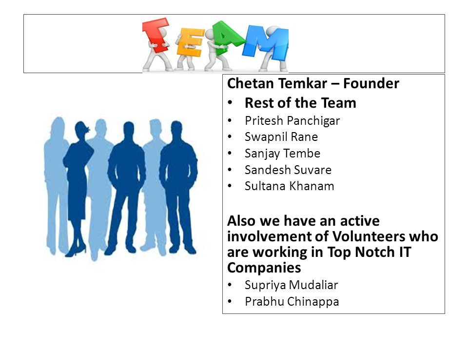 Chetan Temkar – Founder Rest of the Team Pritesh Panchigar Swapnil Rane Sanjay Tembe Sandesh Suvare Sultana Khanam Also we have an active involvement of Volunteers who are working in Top Notch IT Companies Supriya Mudaliar Prabhu Chinappa