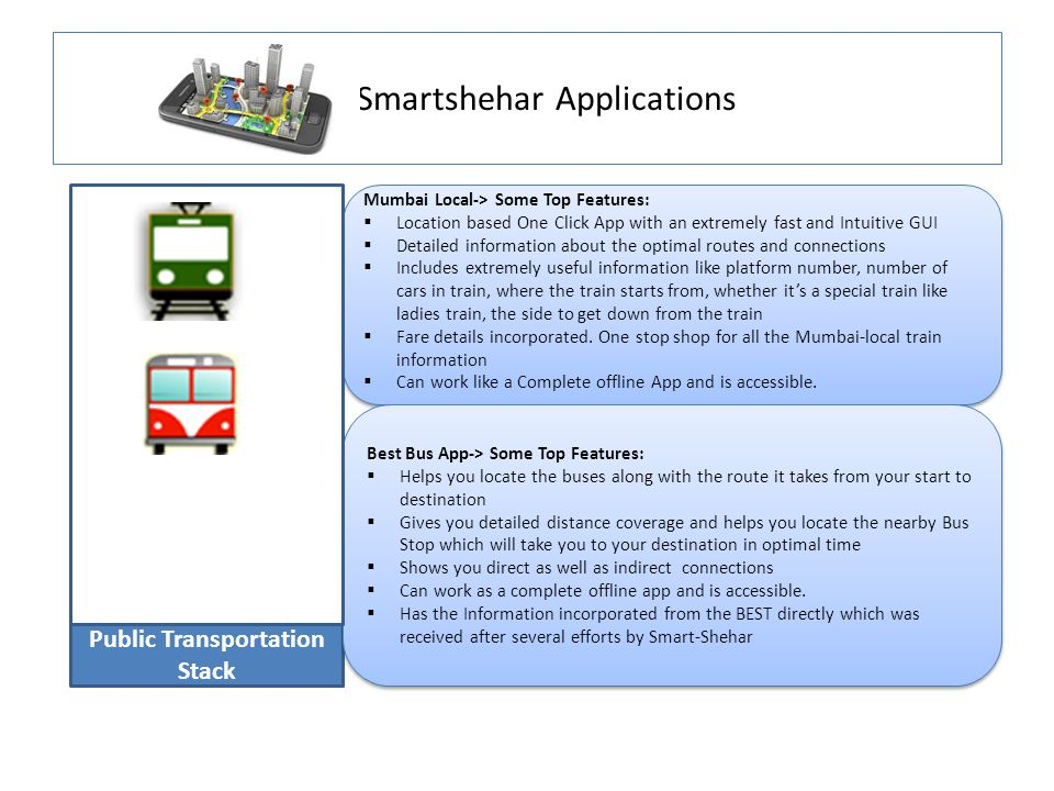Smartshehar Applications Public Transportation Stack Mumbai Local-> Some Top Features:  Location based One Click App with an extremely fast and Intuitive GUI  Detailed information about the optimal routes and connections  Includes extremely useful information like platform number, number of cars in train, where the train starts from, whether it's a special train like ladies train, the side to get down from the train  Fare details incorporated.