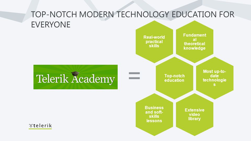 TOP-NOTCH MODERN TECHNOLOGY EDUCATION FOR EVERYONE = Fundament al theoretical knowledge Real-world practical skills Top-notch education Most up-to- date technologie s Extensive video library Business and soft- skills lessons