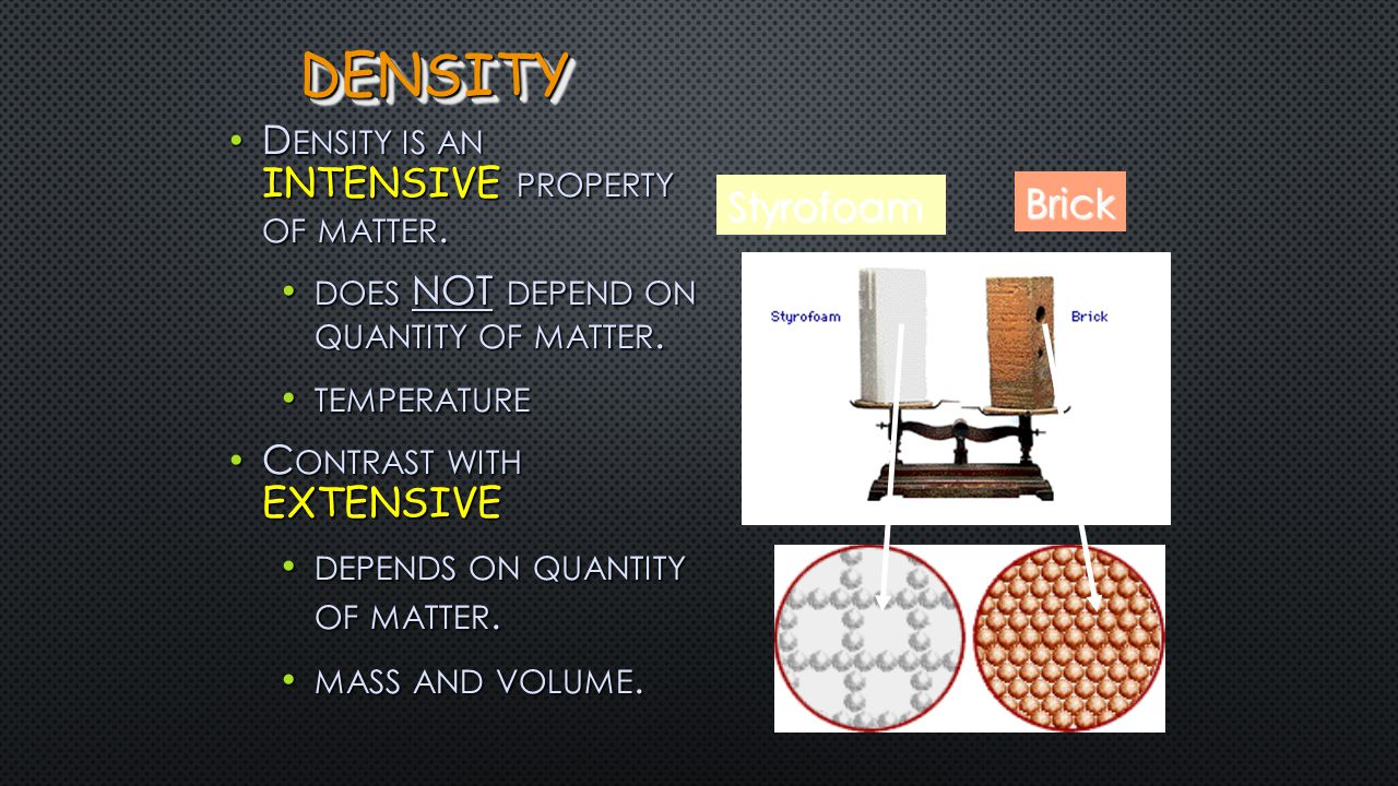 DENSITY - AN IMPORTANT AND USEFUL PHYSICAL PROPERTY Mercury 13.6 g/cm 3 21.5 g/cm 3 Aluminum 2.7 g/cm 3 Platinum