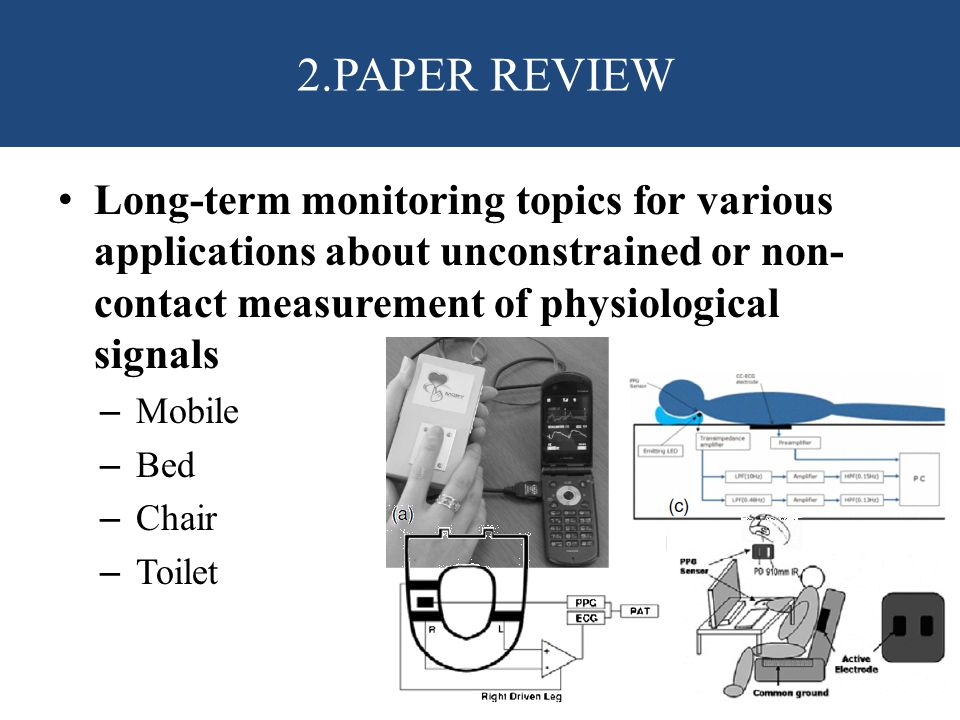 Long-term monitoring topics for various applications about unconstrained or non- contact measurement of physiological signals – Mobile – Bed – Chair – Toilet 2.PAPER REVIEW