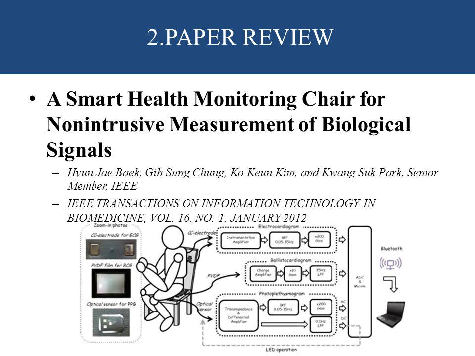 A Smart Health Monitoring Chair for Nonintrusive Measurement of Biological Signals – Hyun Jae Baek, Gih Sung Chung, Ko Keun Kim, and Kwang Suk Park, Senior Member, IEEE – IEEE TRANSACTIONS ON INFORMATION TECHNOLOGY IN BIOMEDICINE, VOL.
