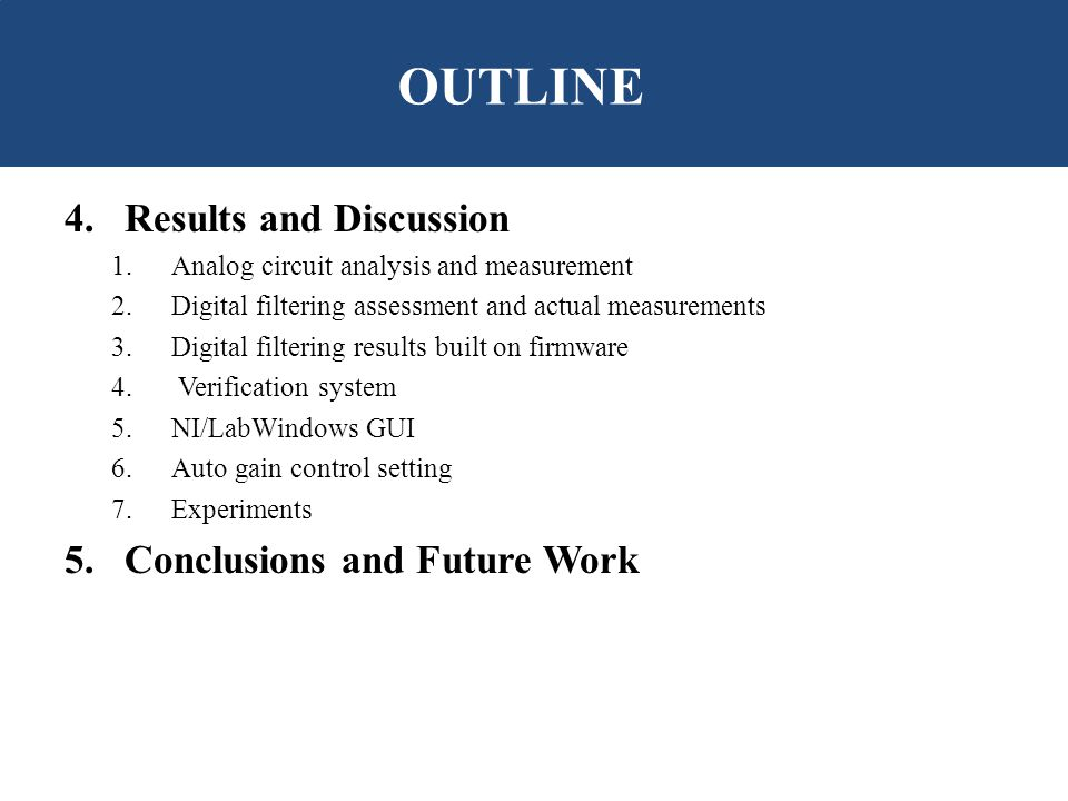 4.Results and Discussion 1.Analog circuit analysis and measurement 2.Digital filtering assessment and actual measurements 3.Digital filtering results built on firmware 4.