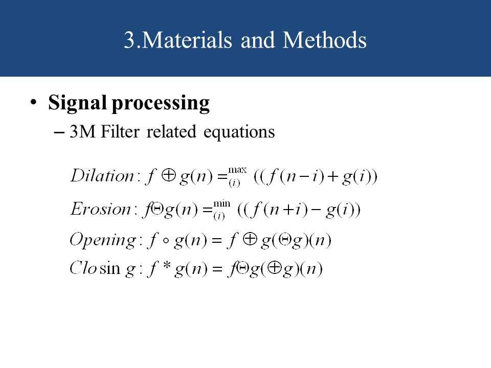 Signal processing – 3M Filter related equations