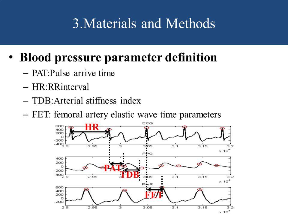 Blood pressure parameter definition – PAT:Pulse arrive time – HR:RRinterval – TDB:Arterial stiffness index – FET: femoral artery elastic wave time parameters 3.Materials and Methods HR PAT TDB FET