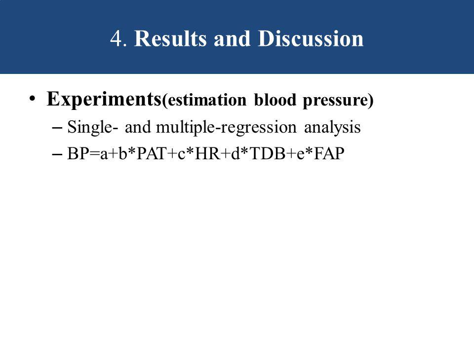 Experiments (estimation blood pressure) – Single- and multiple-regression analysis – BP=a+b*PAT+c*HR+d*TDB+e*FAP