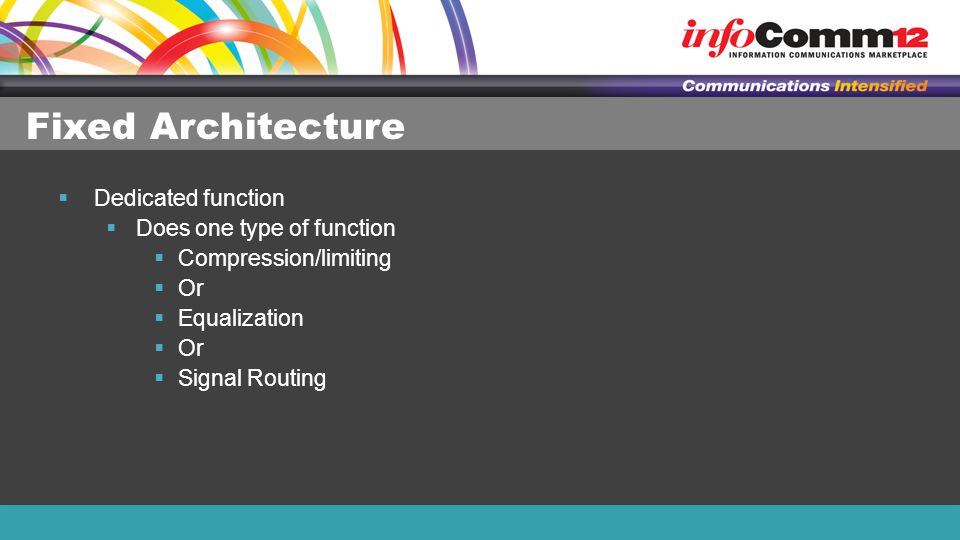 Fixed Architecture  Dedicated function  Does one type of function  Compression/limiting  Or  Equalization  Or  Signal Routing