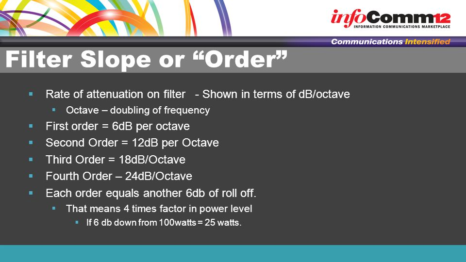Filter Slope or Order  Rate of attenuation on filter - Shown in terms of dB/octave  Octave – doubling of frequency  First order = 6dB per octave  Second Order = 12dB per Octave  Third Order = 18dB/Octave  Fourth Order – 24dB/Octave  Each order equals another 6db of roll off.
