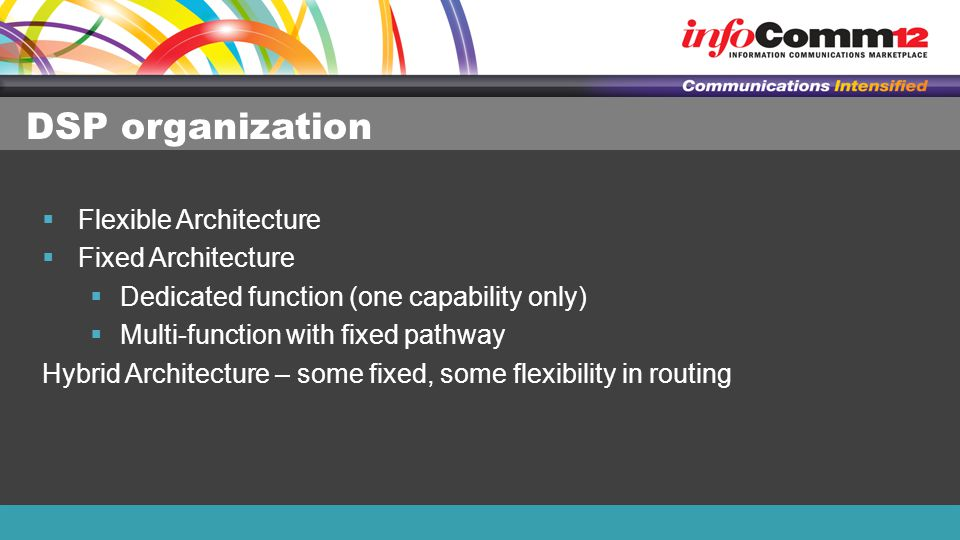 DSP organization  Flexible Architecture  Fixed Architecture  Dedicated function (one capability only)  Multi-function with fixed pathway Hybrid Architecture – some fixed, some flexibility in routing