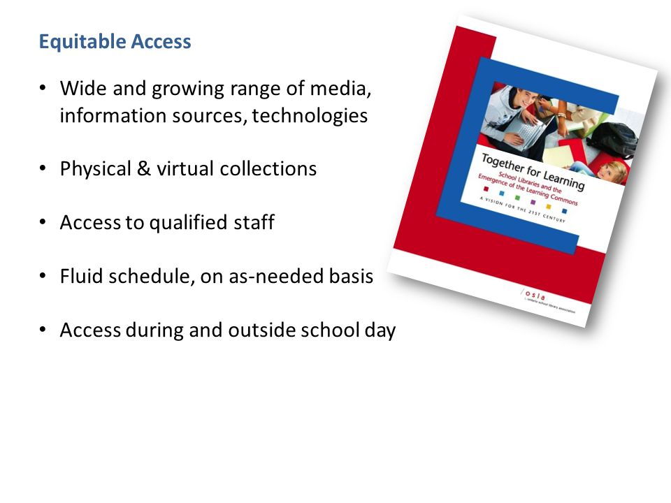 Equitable Access Wide and growing range of media, information sources, technologies Physical & virtual collections Access to qualified staff Fluid schedule, on as-needed basis Access during and outside school day