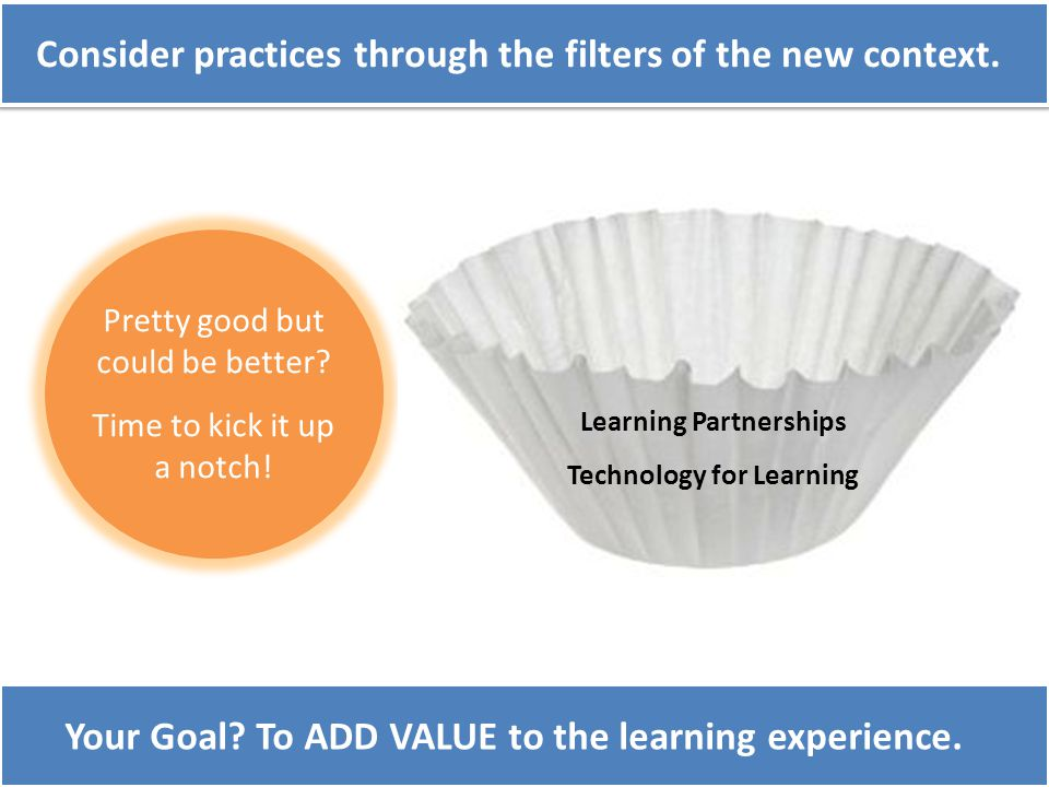 Consider practices through the filters of the new context. Pretty good but could be better? Time to kick it up a notch! Learning Partnerships Technolo