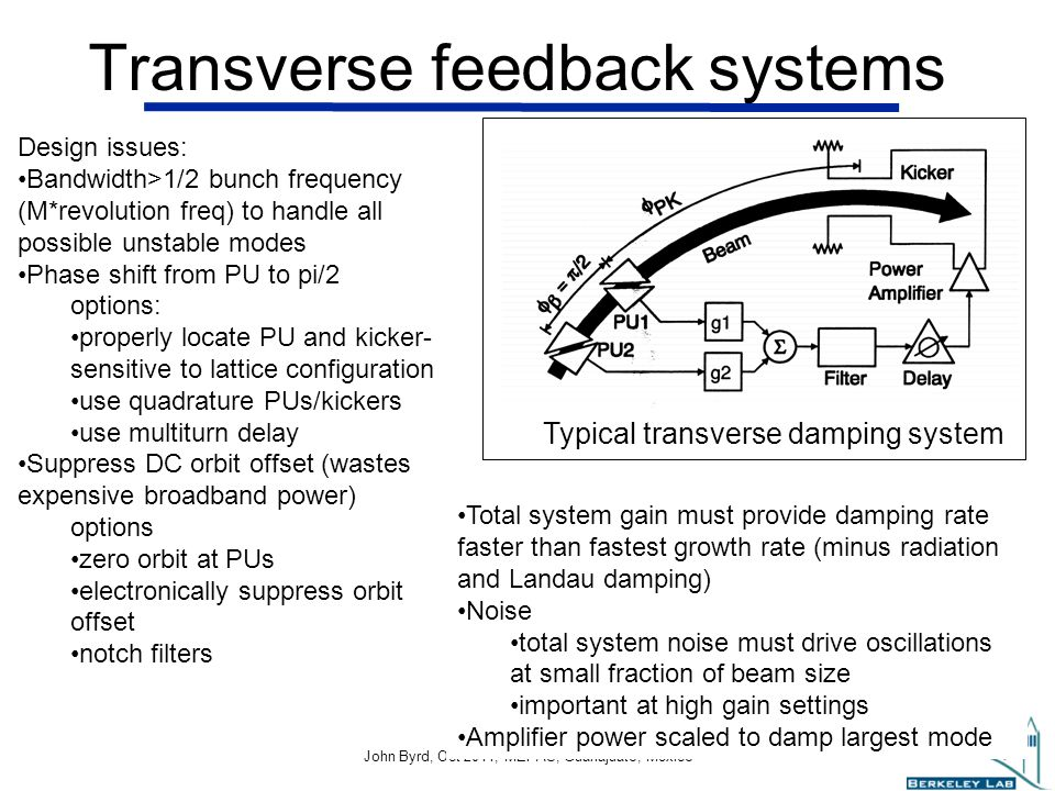 John Byrd John Byrd, Oct 2011, MEPAS, Guanajuato, Mexico 8 Transverse feedback systems Typical transverse damping system Design issues: Bandwidth>1/2 bunch frequency (M*revolution freq) to handle all possible unstable modes Phase shift from PU to pi/2 options: properly locate PU and kicker- sensitive to lattice configuration use quadrature PUs/kickers use multiturn delay Suppress DC orbit offset (wastes expensive broadband power) options zero orbit at PUs electronically suppress orbit offset notch filters Total system gain must provide damping rate faster than fastest growth rate (minus radiation and Landau damping) Noise total system noise must drive oscillations at small fraction of beam size important at high gain settings Amplifier power scaled to damp largest mode