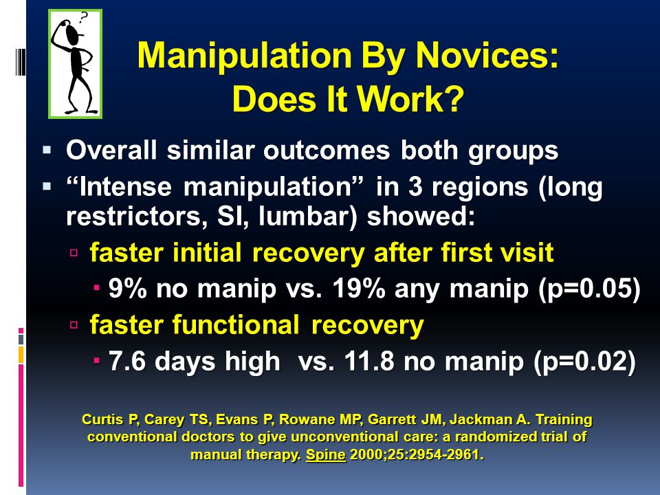 "Manipulation By Novices: Does It Work?  Overall similar outcomes both groups  ""Intense manipulation"" in 3 regions (long restrictors, SI, lumbar) sho"
