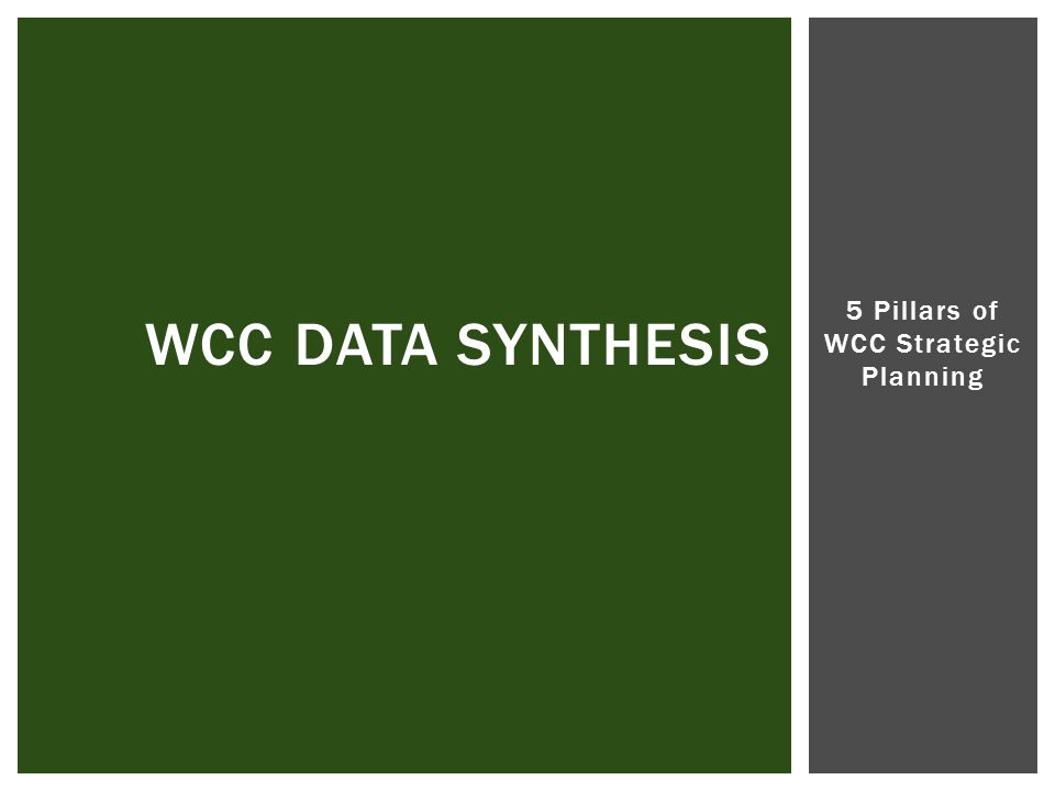 5 Pillars of WCC Strategic Planning WCC DATA SYNTHESIS