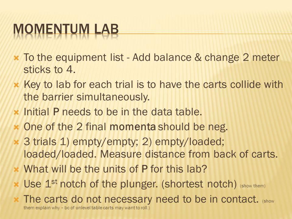  To the equipment list - Add balance & change 2 meter sticks to 4.