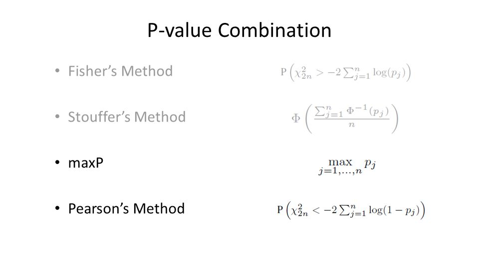 P-value Combination Fisher's Method Stouffer's Method maxP Pearson's Method