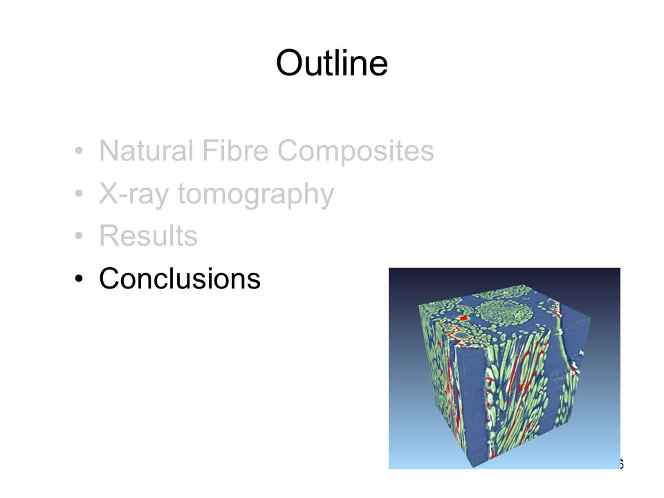Outline 26 Natural Fibre Composites X-ray tomography Results Conclusions