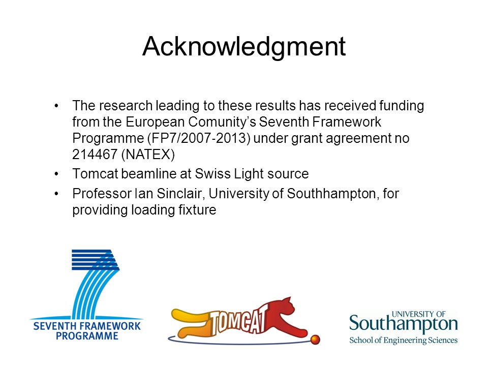 Acknowledgment The research leading to these results has received funding from the European Comunity's Seventh Framework Programme (FP7/2007 ‐ 2013) under grant agreement no 214467 (NATEX) Tomcat beamline at Swiss Light source Professor Ian Sinclair, University of Southhampton, for providing loading fixture
