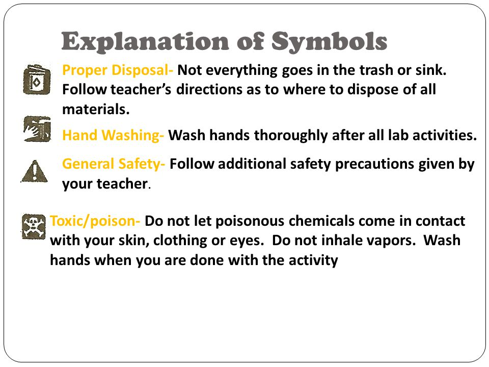 Explanation of Symbols Goggles- Wear safety goggles to protect your eyes during labs that use chemicals, flames or heating, or the possibility of brok