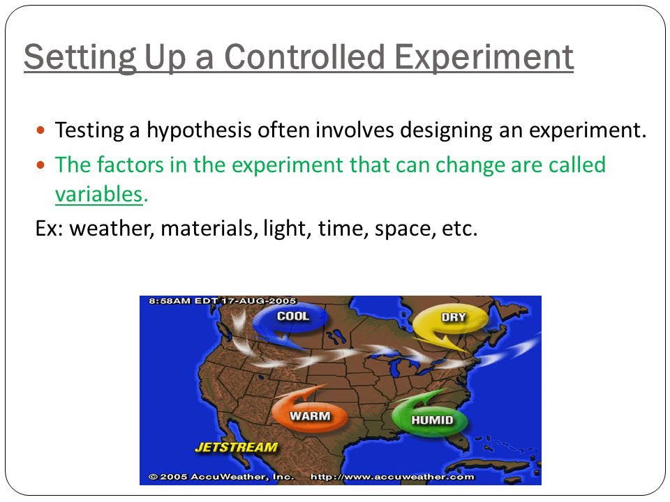 ***Designing an Experiment Asking a question. Forming a hypothesis. Setting up a Controlled Experiment Recording and Analyzing results Drawing a concl