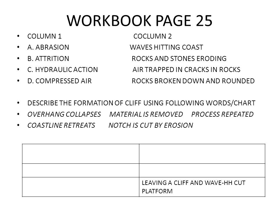 WORKBOOK PAGE 25 COLUMN 1 COCLUMN 2 A. ABRASION WAVES HITTING COAST B. ATTRITION ROCKS AND STONES ERODING C. HYDRAULIC ACTION AIR TRAPPED IN CRACKS IN