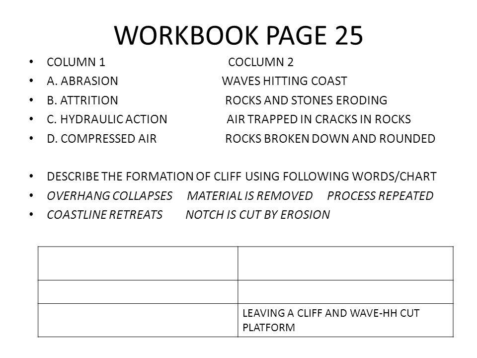 WORKBOOK PAGE 25 COLUMN 1 COCLUMN 2 A. ABRASION WAVES HITTING COAST B.