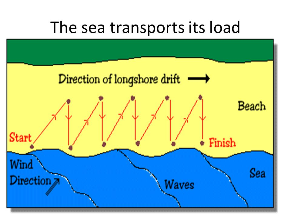 The sea transports its load Longshore drift