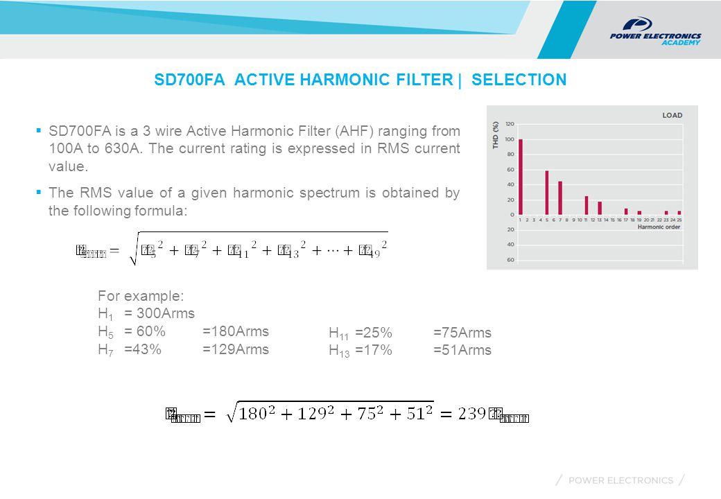 SD700FA ACTIVE HARMONIC FILTER | SELECTION  SD700FA is a 3 wire Active Harmonic Filter (AHF) ranging from 100A to 630A.