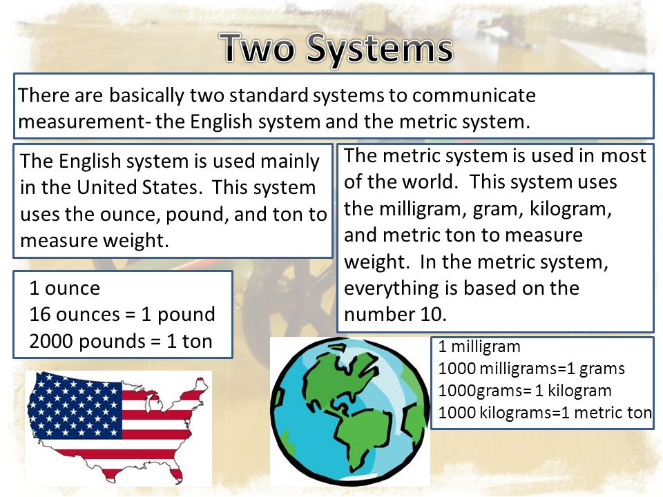 There are basically two standard systems to communicate measurement- the English system and the metric system.