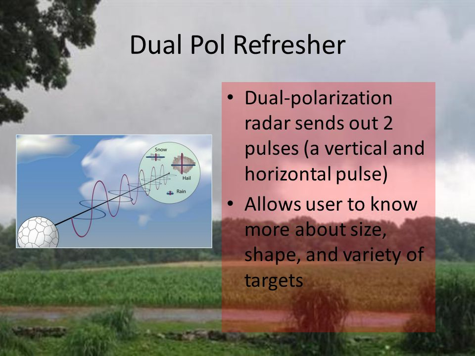 Dual Pol Refresher Dual-polarization radar sends out 2 pulses (a vertical and horizontal pulse) Allows user to know more about size, shape, and variety of targets