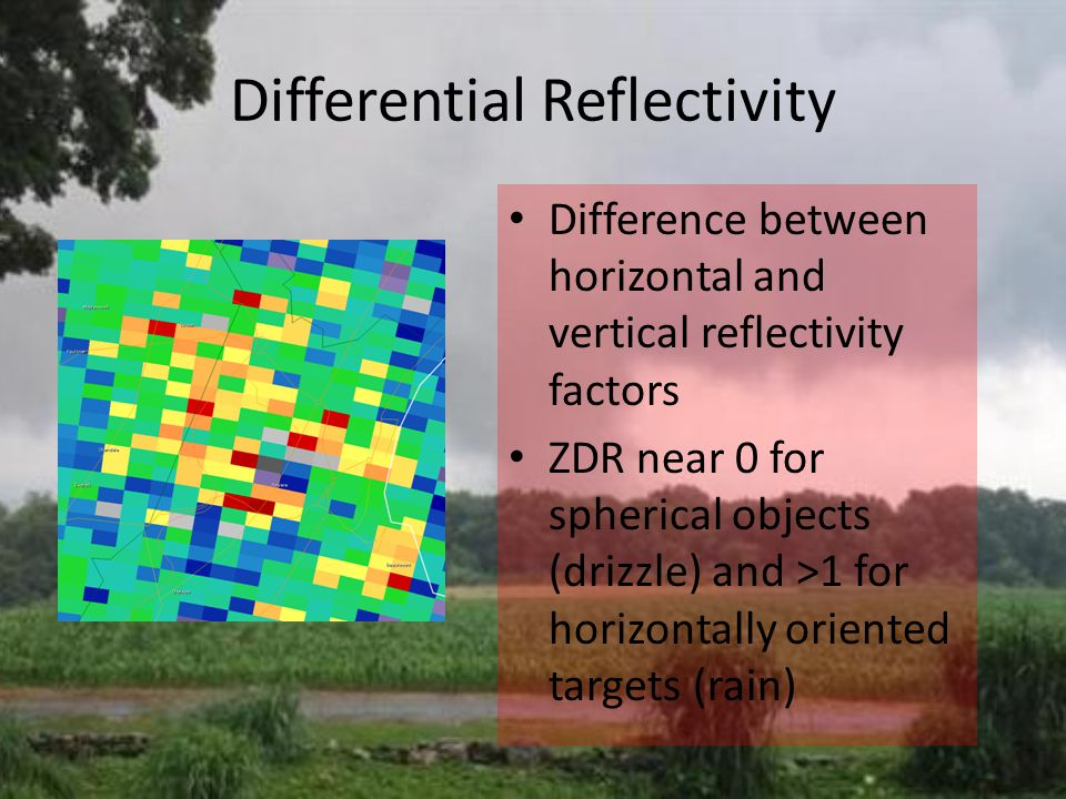 Differential Reflectivity Difference between horizontal and vertical reflectivity factors ZDR near 0 for spherical objects (drizzle) and >1 for horizontally oriented targets (rain)