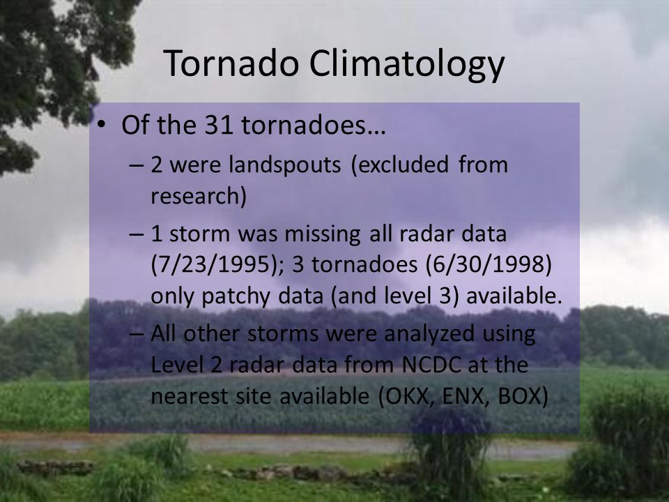 Tornado Climatology Of the 31 tornadoes… – 2 were landspouts (excluded from research) – 1 storm was missing all radar data (7/23/1995); 3 tornadoes (6/30/1998) only patchy data (and level 3) available.