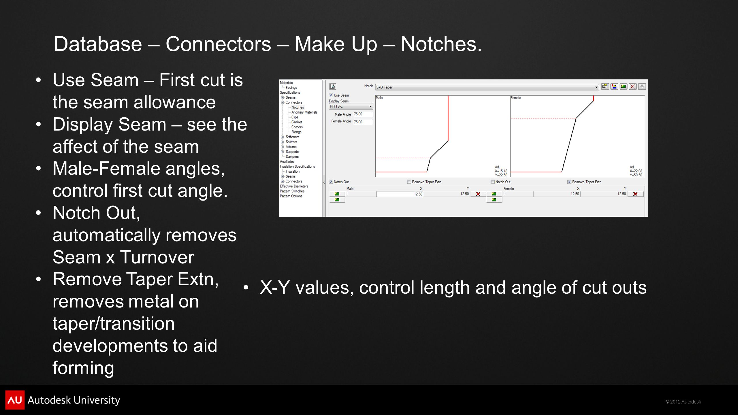 © 2012 Autodesk Database – Connectors – Make Up – Notches.