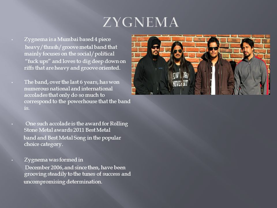 Zygnema is a Mumbai based 4 piece heavy/thrash/groove metal band that mainly focuses on the social/political fuck ups and loves to dig deep down on riffs that are heavy and groove oriented.