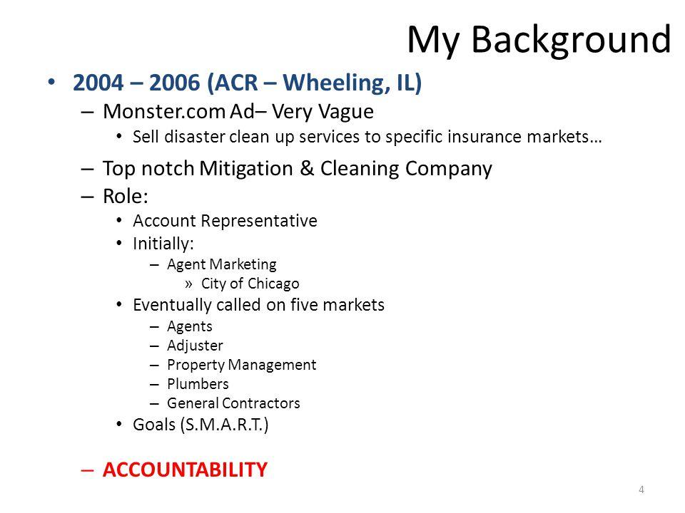 JCR My JCR Background 2006 – present (JCR) – Top Notch Full-Services Restoration Company – Roles Served: Marketing Director (12/2006 – 4/2008) General Manager (April 2008 – present) 5