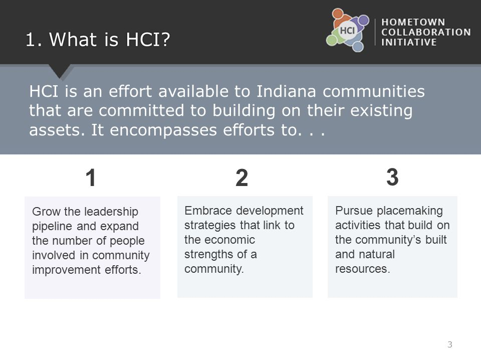 HCI is an effort available to Indiana communities that are committed to building on their existing assets. It encompasses efforts to... 1.What is HCI?