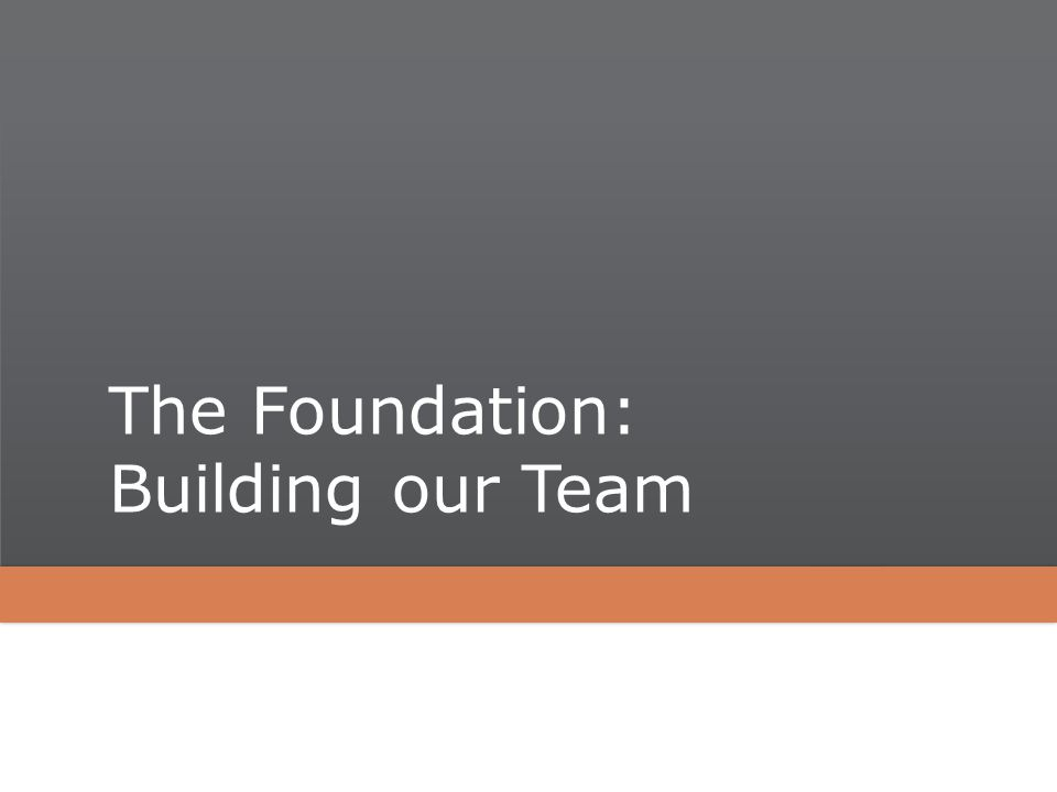 The Foundation: Building our Team