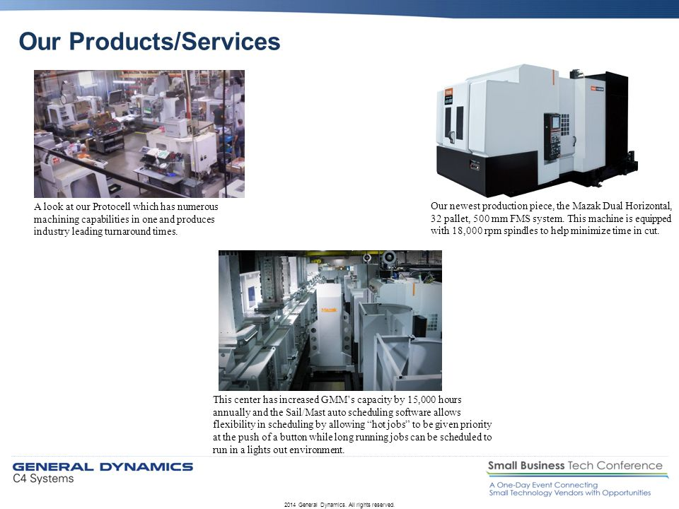 Our Products/Services 2014 General Dynamics. All rights reserved. A look at our Protocell which has numerous machining capabilities in one and produce