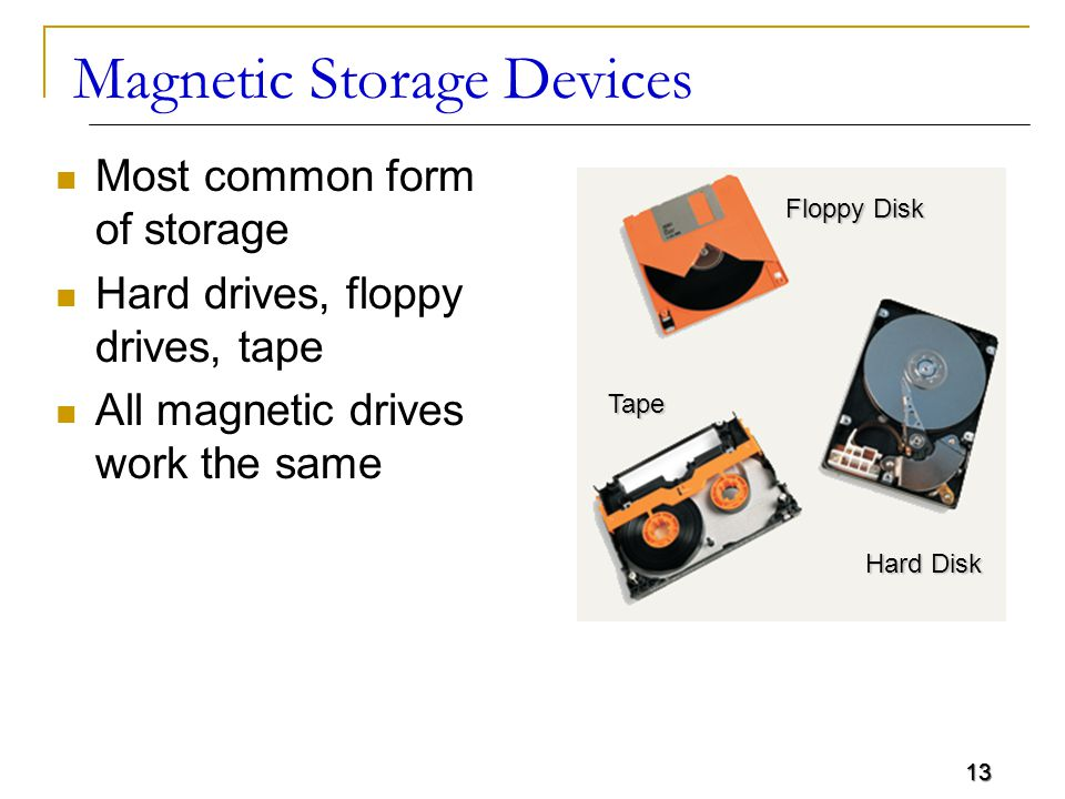 13 Magnetic Storage Devices Most common form of storage Hard drives, floppy drives, tape All magnetic drives work the same Floppy Disk Hard Disk Tape