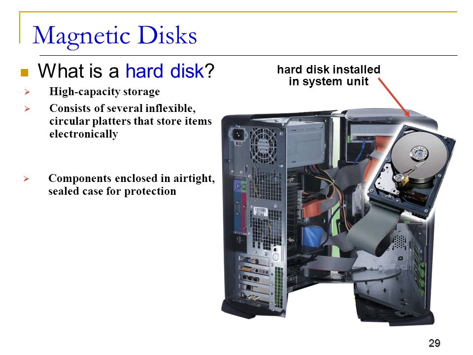 29 Magnetic Disks What is a hard disk.